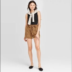 NWT A New Day Leopard Tie Waist High Rise Shorts